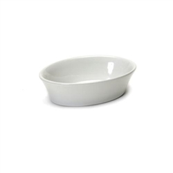 Baking Dish, 7oz Oval, Smooth Porcelain, White, BWK-060 by Tuxton.