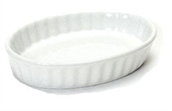 Baking Dish, Creme Brulee 6oz Oval, Fluted - Porcelain White, BWK-0602 by Tuxton.