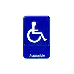 "Sign, ""Accessible"" Braille 6"" x 9"" White On Blue, 5644 by Vollrath."