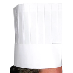 "Chef's Hat, Disposable White 9"" 10/CS - DCH-9 by Winco."