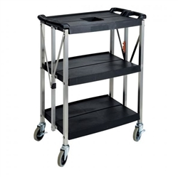 "Winco Utility/Bussing Cart, 29"" x 16"" Black- WNCUCF-2916K"