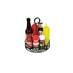 Condiment Caddy,  Round Metal - Black, WBKH-6R by Winco.