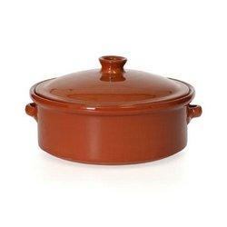 "Baking Dish, ""Cocotte"" Clay Pot With Cover 10 1/4"" Round - Earthenware, CP051 by Yaya Imports."