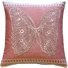 Lace Butterfly in Rose French Tapestry Throw Pillow