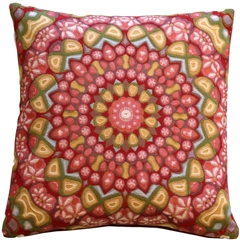 Kaleidoscope Rose 19x19 Throw Pillow