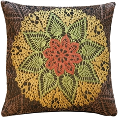 Crochet Flower 19x19 Tapestry Pillow