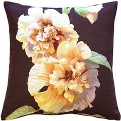 Hollyhock Twin Blossoms Tapestry Throw Pillow