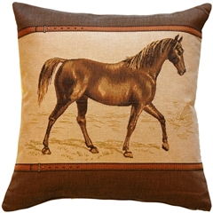 Horse French Tapestry Throw Pillow