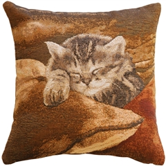 Sleeping Cat in Brown 14x14 Throw Pillow