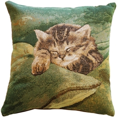 Sleeping Cat in Green 14x14 Throw Pillow
