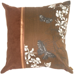 Floral Silk and Seude Square Chocolate Accent Pillow
