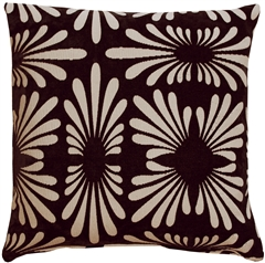 Velvet Daisy Black 20x20 Throw Pillow