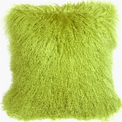 Mongolian Sheepskin Green Throw Pillow