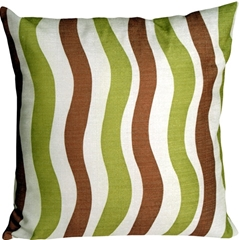 Country Stripes Green and Brown 20x20 Throw Pillow