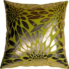 Metallic Floral Green Square Throw Pillow