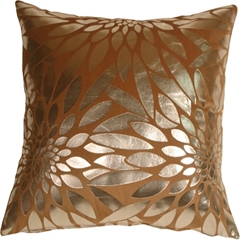 Metallic Floral Camel Square Throw Pillow
