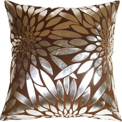 Metallic Floral Brown Square Throw Pillow