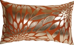 Metallic Floral Burnt Orange Rectangular Throw Pillow