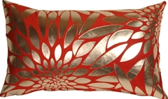 Metallic Floral Red Rectangular Throw Pillow
