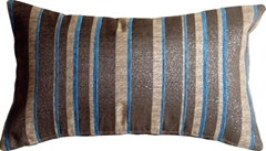 Sparkle Stripes 12x20 Blue and Gray Throw Pillow