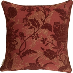 Traditional Floral in Wine 18x18 Decorative Pillow