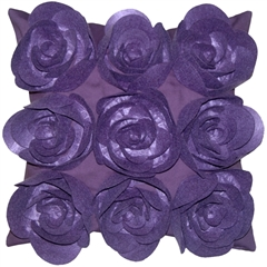 Felt Flowers in Purple 17x17 Throw Pillow