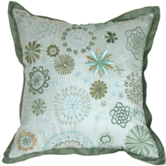 Floral Delight Green Throw Pillow