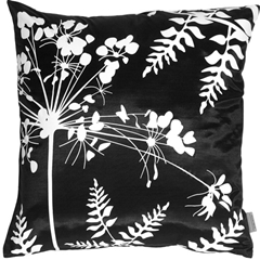 Black with White Spring Flower and Ferns Pillow
