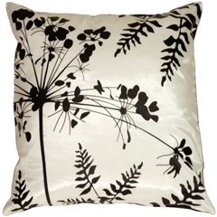White with Black Spring Flower and Ferns Pillow