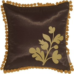 Bohemian Blossom, Brown and Ocher Throw Pillow