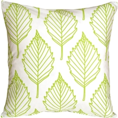 Contemporary Lime Green Leaf Throw Pillow