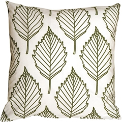 Contemporary Olive Green Leaf Throw Pillow