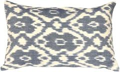 Caravan Ikat Old Blue 12X20 Throw Pillow