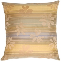 Beige Floral on Stripes Square Decorative Pillow