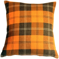 Contemporary Plaid Orange 20x20 Throw Pillow