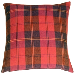 Contemporary Plaid Red 20x20 Throw Pillow