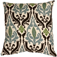 Linen Damask Print Blue Brown 16x16 Throw Pillow