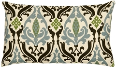 Linen Damask Print Blue Brown 12x20 Throw Pillow