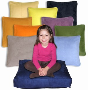 24x24 Box Edge Royal Suede Floor Pillows