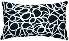 Outdura Black Candid Licorice 12x20 Outdoor Throw Pillow