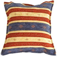 Blue and Red Stripes 17x17 Throw Pillow