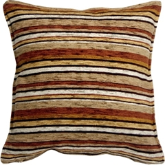 Carnival Stripes Brown 17x17 Throw Pillow