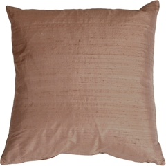 "Dupioni Silk 22"" Blush Brown Throw Pillow"