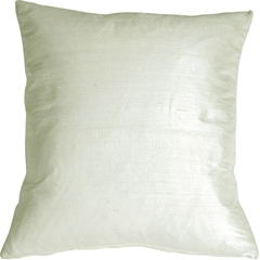 "Dupioni Silk 22"" Light Silver Throw Pillow"