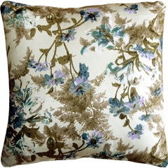 Brookside Garden Blue 17x17 Throw Pillow