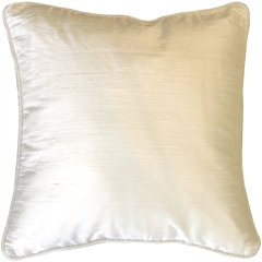 Dupioni Silk 17-Inch Square Off-White with Piping Throw Pillow