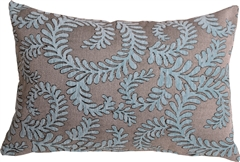 Brackendale Ferns Sea Blue Rectangular Throw Pillow