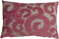 Brackendale Ferns Pink Rectangular Throw Pillow