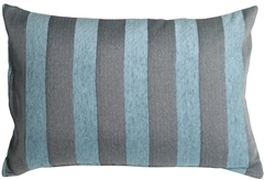 Brackendale Stripes Sea Blue Rectangular Throw Pillow