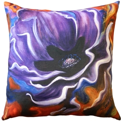 Purple Poppy 20x20 Throw Pillow